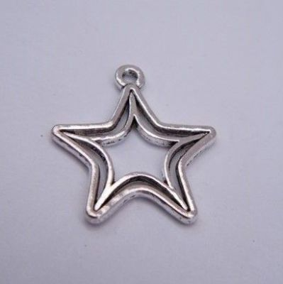 Double Star Outline Keyring - Charm Style